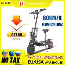 60v 3200w Electric Scooter 80km Long Distance For Adults Foldable 11 Inch Hoverb
