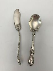 1835 R. Wallace Silverplate Floral Sugar Spoon And Jelly Spreader