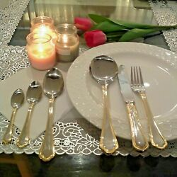 6 Person Serving Food Grade Stainless Steel Gold Lining Cutlery Set , 34 Pcs