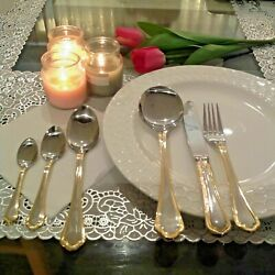 6 Person Serving Food Grade Stainless Steel Gold Lining Cutlery Set 34 Pcs