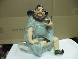 Asian Chinese Porcelain Man With Beard One Feet Cross Drinking Statue Figurine