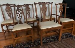 Set Of Six Antique American Hand Crafted Chippendale Dining Room Chairs 1800's