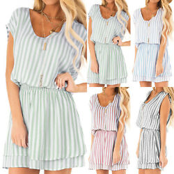 Womens Beach Striped Loose A line Dress Casual Holiday Elastic Waist Sundress. $14.34