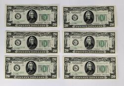 X 6 Consecutive Serial Number 1934d United States U S 20 Federal Reserve Notes