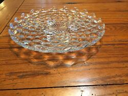 American Fostoria Clear Glass Elegant 3 Footed 12 Round Cake Plate..tray..cube