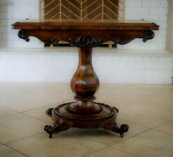 Antique Victorian 19th Century 1850s Rosewood Game, Card Table