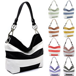 Side Ring Hooked Single Strap Striped Classic Hobo Bucket Purse Womens Handbag $39.90