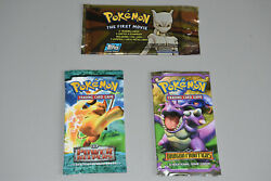 3 Sealed Pokemon Booster Packs Ex Dragon Frontiers Ex Power Keepers, Topps Movie