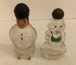 Pair Vintage Figural Glass Perfume Bottles Dutch Girl And Russian Cossack