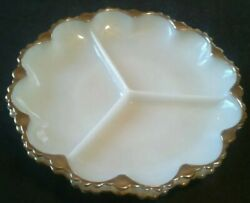 2 Milk Glass Divided Relish Candy Dishes Gold Lace Style Trim Vtg Serving Tray
