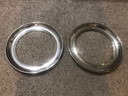 Pair 2 15 Trim Ring Chrome Hubcaps Wheel Covers Beauty Wide