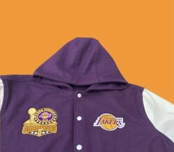 Lakers Letterman Hoodie Wool And Leather Jacket