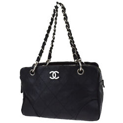 Authentic Cc Chain Shoulder Tote Bag Caviar Skin Leather Black 688bs150