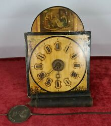 Wall Clock. Ratera. Wooden Front. Black Forest. Germany. Xix Century.
