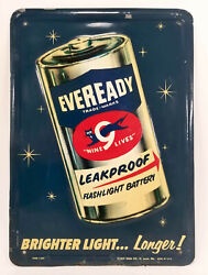 Vintage Eveready Battery Tin Sign From Stout Signs