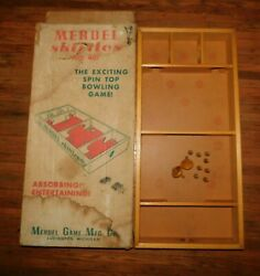 Vintage Merdel Skittles Spin Top Table Bowling Game 401 Wood 8 Pins 2 Spinners