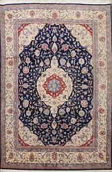 Excellent Vintage Floral Navy Blue/ Ivory Traditional Hand-knotted Area Rug 9x12