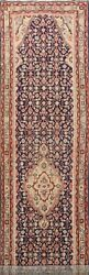 Antique Geometric Tribal Navy Blue Runner Rug Wool Hand-knotted Oriental 3and039x13and039