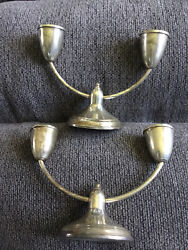 """Pair Of Sterling Silver Weighted Duchin Creation 5.5"""" Double Candelabras"""