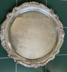 Vintage 12and039and039 Sheridan Taunton Silversmiths Ltd Silver Plate Round Serving Tray