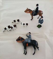 Antique British England Fox Hunting Lead Toy Set - Lot Of 7 - Swinging Arms