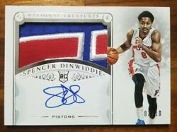 2014-15 National Treasures Spencer Dinwiddie Patch Auto Gold Ver. 03/10 Rpa Rc