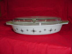 Vintage 1959 Promo Pyrex Atomic Compass Divided Casserole With Lid