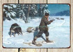 Hazards Of The Trail Dog Hunter Wolf Philip Goodwin Paintings 1925 Metal Tin