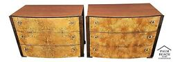Mcm Pair Of Vintage Hickory White Briar Burl Wood Nightstands Chests