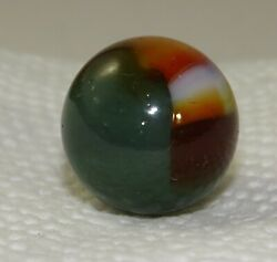 Vtg Old Akro Agate Green Oxblood Patch 10/16 Collectors Collectible Toy Marble