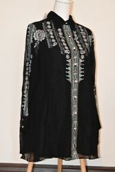 Vintage Collection Tunic Embroidered Ls Button Down Size L New With Tags Beads