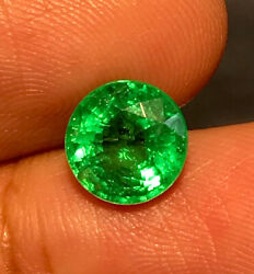 2.01cts Top Luster Green Natural 7.7mm Round Emerald Loose Gemstone