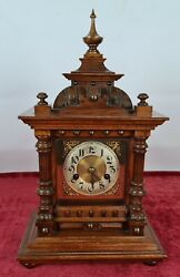 Table Clock. Hac Wooden Box. Black Forest. Germany. 1907.