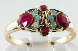 Dainty 9k 9ct Gold Ruby And Opal Sun And Moon Crest Art Deco Ins Ring Free Resize