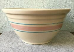 Vintage Mccoy Pottery Cream With Pink And Blue Stripes 12 Oven Ware Mixing Bowl