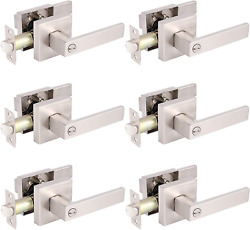 Gobrico Pack Of 6 Square Door Handles Levers Bedroom And Bathroom Privacy Locks