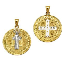 San Benito Medal Pendant Saint Benedict Medallion Two Sided 14k Solid Gold