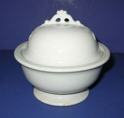 Antique Royal Ironstone China Anchor Pottery 3 Pc Covered Butter Dish W/drain