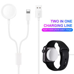 50pcs 2 In 1 Magnetic Iwatch Charger Cable For A Pple Watch 1 To 6 Se I Phone Xr