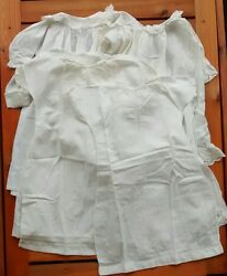 Vintage White Christening Gown Dress Lot Baby Doll Lace Pintuck Smocked Antique