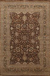 Floral Vegetable Dye Oriental Area Rug Hand-knotted Wool 8x10 Traditional Carpet