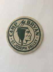 Vintage 1940s Bsa Boy Scouts Camp Bryan Felt Wool Patch Badge Indiana