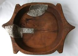Antique Wood Dough Bowl Gothic Look Hand Hewn Primitive Early