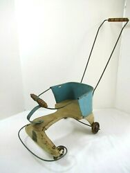 Vintage 1940s Tin Baby Doll Stroller Clipper Brand Toy Metal Wood Antique