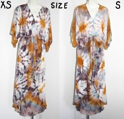 Young Fabulous And Broke V-neck Tie Dye High-low Open Skirt Maxi Wrap Dress Xs, S