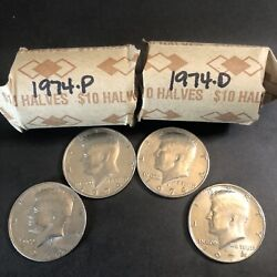 2 Rolls 1974 P And D Kennedy Half Dollar 50 Cent Us Mint Coin 40 Circulated Coins