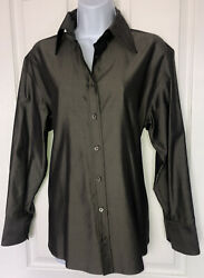 Womenandrsquos 100 Silk Made In Italy Button Up Long Sleeve Blouse 42 Gorgeous