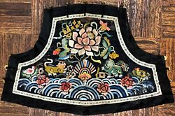 Antique Chinese Ching Dynasty Silk On Silk Embroidery Breast Piece 19 C./earlier