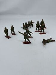 Antique Britains Soldiers Marked England Set Of 12 Lead