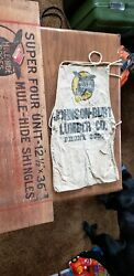 Antique 1920's Mule Hide Roofs Advertising Roofing Shingle Sign And Apron Rare
